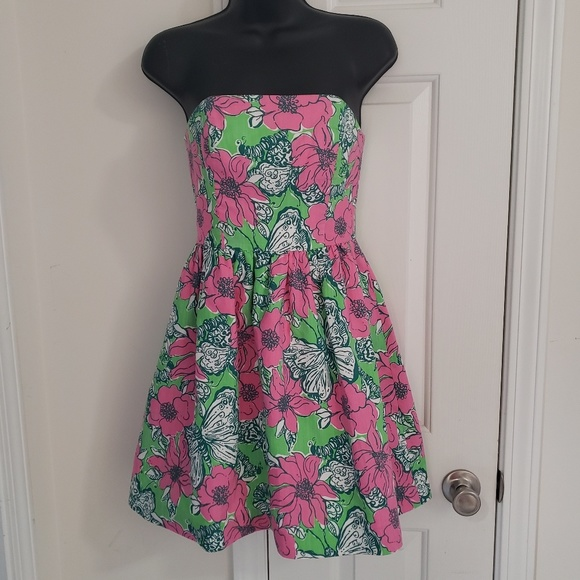 Lilly Pulitzer Dresses & Skirts - Lilly Pulitzer Strapless Dress Size 00 Butterflies
